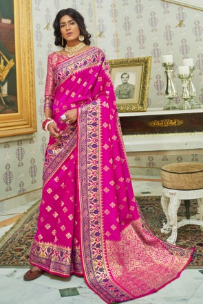 Pink Silk Fabric Weaving Work And Jacquard Work Saree And Blouse
