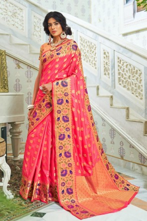 Peach Silk Fabric Weaving Work And Jacquard Work Saree And Blouse