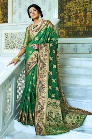 Silk Fabric Embroidery And Weaving Work Designer Green Lovely Saree And Blouse