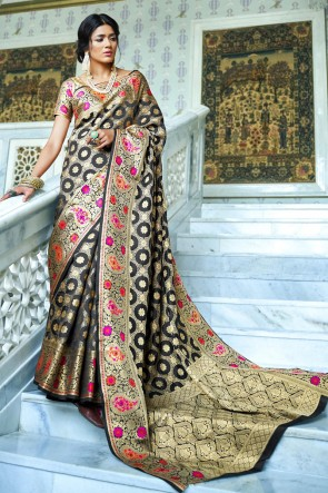 Silk Fabric Grey Embroidery And Weaving Work Designer Saree With Silk Blouse