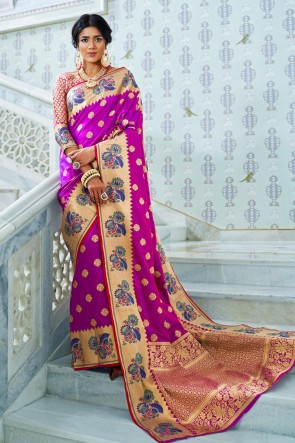 Weaving Work And Jacquard Work Designer Pink Silk Fabric Saree With Silk Blouse