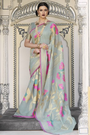 Silver Karyon Linen Fabric Printed Designer Saree With Blouse