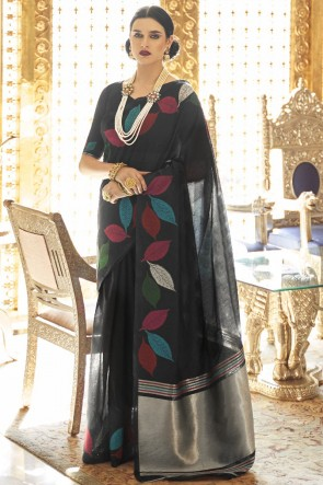 Karyon Linen Fabric Black Designer Saree With Blouse