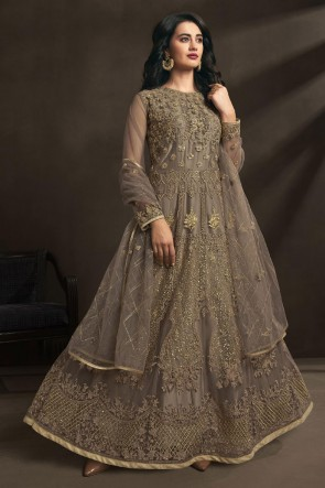 Designer Brown Embroidered And Stone Work Net Abaya Style Anarkali Suit With Dupatta