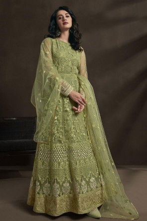 Pista Net Embroidered And Stone Work Abaya Style Anarkali Suit With Dupatta