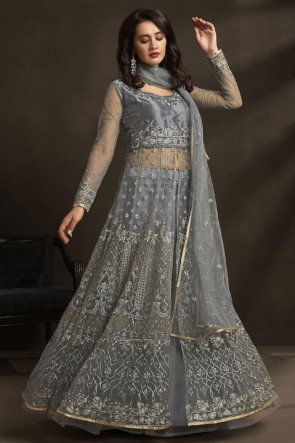 Silver Net Embroidered And Stone Work Abaya Style Anarkali Suit With Dupatta