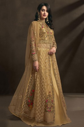Embroidered And Stone Work Golden Net Fabric Anarkali Suit With Dupatta