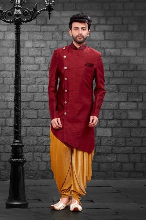 Beautiful Maroon Silk Indo Western With Velvet Bottom