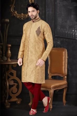Jacquard Fabric Golden Stylish Indo Western With Art Silk Bottom