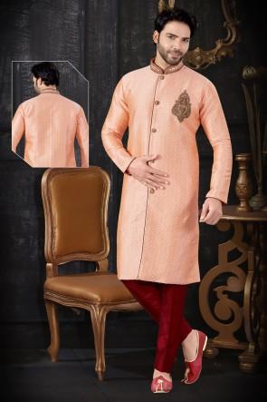 Peach Jacquard Fabric Indo Western With Art Silk Bottom