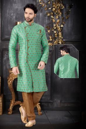 Jacquard Fabric Light Green Indo Western With Art Silk Bottom