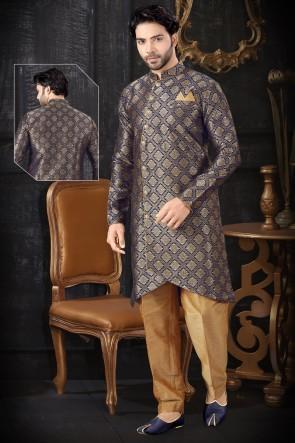 Designer Navy Blue Jacquard Fabric Indo Western With Art Silk Bottom