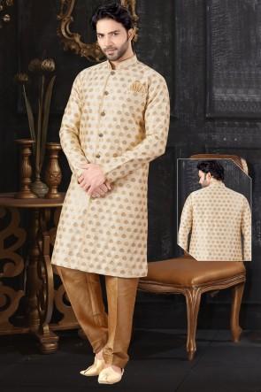 Jacquard Fabric Cream Indo Western With Art Silk Bottom