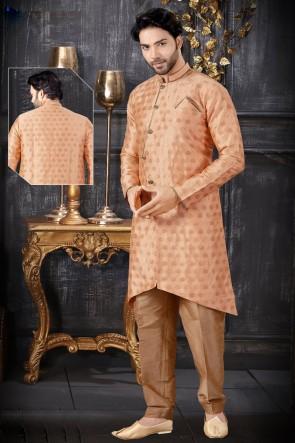Jacquard Fabric Peach Stylish Indo Western With Art Silk Bottom
