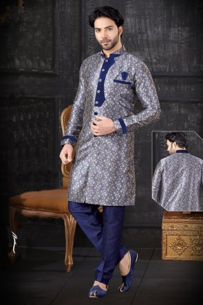 Royal Blue Jacquard Fabric Indo Western With Art Silk Bottom