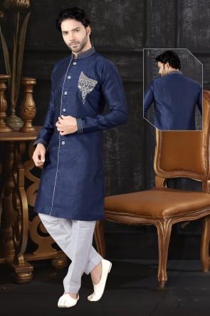 Blue Jacquard Fabric Indo Western With Art Silk Bottom