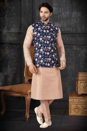 Art Silk Fabric Cream Designer Indo Western With Navy Blue Silk Fabric Jacket