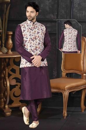 Wine Art Silk Fabric Indo Western With Off White Silk Fabric Jacket