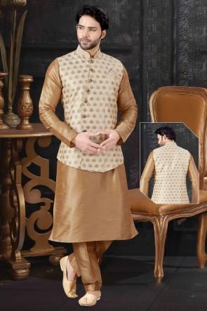 Chikoo Art Silk Fabric Indo Western With Cream Jacquard Fabric Jacket