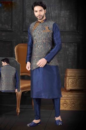 Art Silk Fabric Navy Blue Indo Western With Multi Colour Jacquard Fabric Jacket