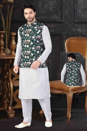 Art Silk Fabric Off White Stylish Indo Western With Green Silk Fabric Jacket