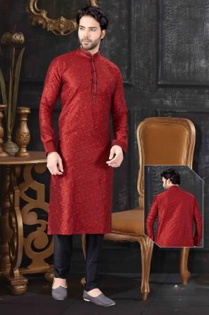 Maroon Jacquard Fabric Kurta Payjama
