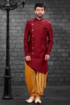 Awesome Maroon Imported Silk Fabric Indo Western With Velvet Bottom