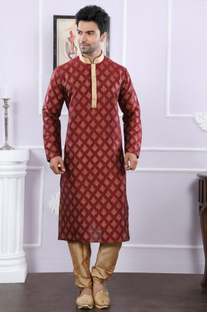 Designer Maroon Art Silk Kurta Pajama