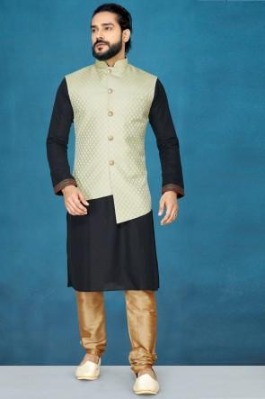 Fascinating Black Silk Fabric Kurta Pajama With Pista Thread Work Designer Jacket