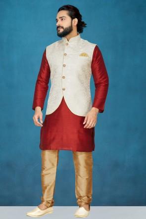 Excellent Silk Fabric Red Kurta Pajama With Off White Thread Work Designer Jacket