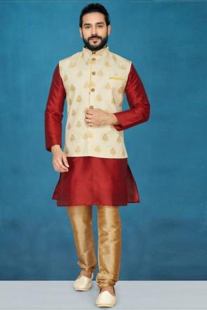 Classic Silk Fabric Red Kurta Pajama With Thread Work Cream Jacket