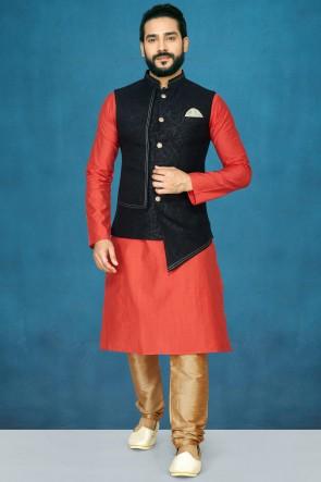 Solid Silk Fabric Rust Kurta Pajama With Black Thread Work Designer Jacket