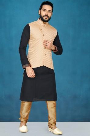 Stylish Black Silk Fabric Kurta Pajama With Thread Work Peach Jacket