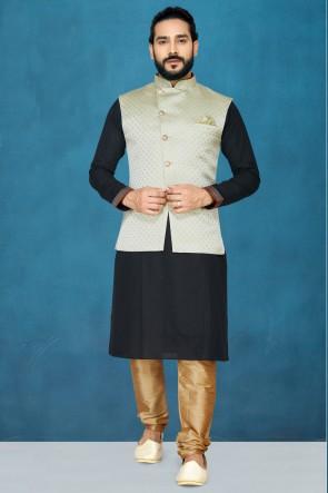 Graceful Black Silk Febric Kurta Pajama With Pista Thread Work Designer Jacket