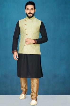 Gorgeous Black Silk Fabric Kurta Pajama With Thread Work Pista Jacket
