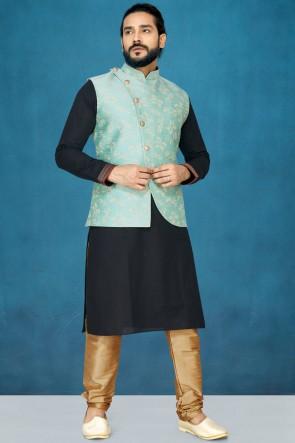 Optimum Silk Fabric Black Kurta Pajama With Thread Work Aqua Jacket
