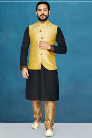 Delightful Black Silk Fabric Kurta Pajama With Yellow Thread Work Designer Jacket