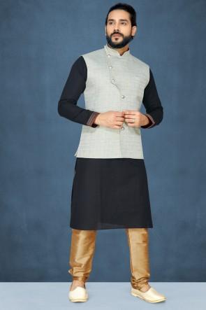Black Silk Fabric Kurta Pajama With Grey Thread Work Jacket