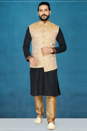 Supreme Black Silk Fabric Kurta Pajama With Thread Work Gold Jacket