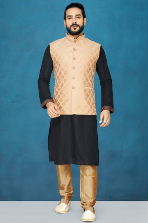 Charming Silk Fabric Black Kurta Pajama With Peach Thread Work Designer Jacket