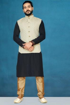 Admirable Silk Fabric Black Kurta Pajama With Thread Work Designer Off White Jacket