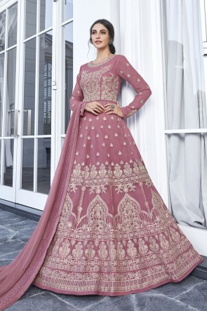 Designer Rust Embroidered Georgette Abaya Style Anarkali Suit With Nazmin Dupatta