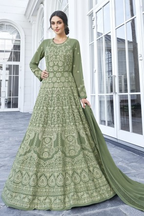 Mehendi Green Georgette Embroidered Abaya Style Anarkali Suit With Nazmin Dupatta