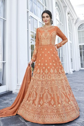 Orange Georgette Embroidered Abaya Style Anarkali Suit With Nazmin Dupatta