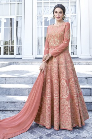 Georgette Designer Peach Embroidered Anarkali Suit With Nazmin Dupatta