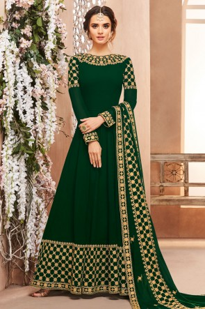 Gorgeous Green Georgette Embroidered Anarkali Salwar Suit With Georgette Dupatta