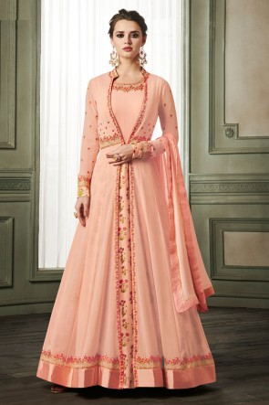 Charming Peach Georgette and Silk Designer Embroidered Long Lenght Gown