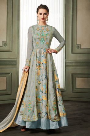 Grey Georgette and Silk Embroidered Long Lenght Gown