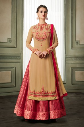 Biege and Pink Georgette and Silk Embroidered Long Lenght Gown
