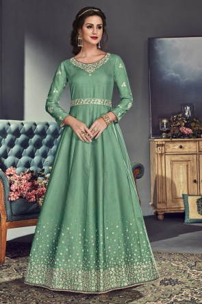 Lovely Green Silk Anarkali Salwar Suit With Organza Dupatta
